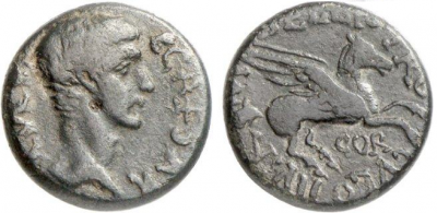 Figure 5: Caligula and Pegasus (RPC I, 1173). Bronze as, from Corinth, 44-43 BCE. Obverse: head of Caligula, with the legend C(AIVS) CAESAR AVG(VSTVS) (Gaius Caesar Augustus). Reverse: Pegasus, with the legend M BELLIO PROCVLO IIVIR COR (M. Bellius Proculus duovir). Reproduced with permission of www.wildwinds.com.