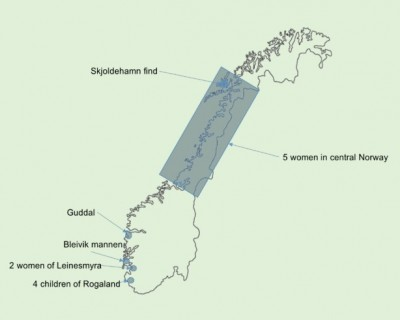 Figure 1: Map of bog bodies discovered in Norway.