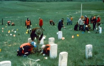 Figure 2: Archaeological survey being carried out at the Little Bighorn battlefield in 1984, one of the first examples of battlefield archaeology (after Reece 2015).