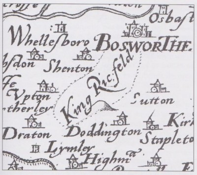 Figure 6: Extract from Saxton's 1576 map of England showing the location of the Battle of Bosworth as 'King<br /> Ric. feld' (after Foard & Curry 2013, 3).<br />