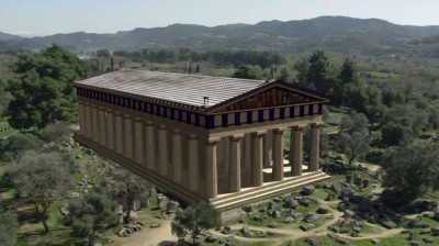 Augmented Reality of a reconstructed temple composited in realtime with video of the ruined site today. Credit: Archeoguide (http://tinyurl.com/knq5ms)