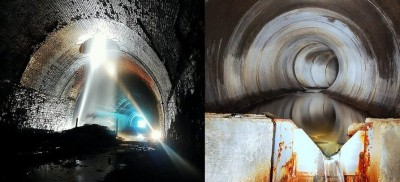 Left to right. Figure 5: Spectacular image of water pouring down an old ventilation shaft in a disused mine; Figure 6: Underground tunnel at Roundhay Park, Leeds (credit: Davidson, P.)